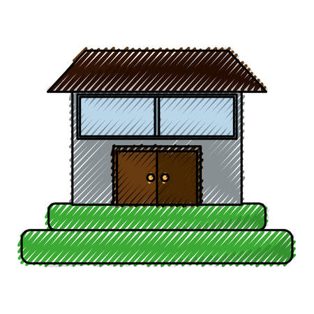 isolated big house icon vector illustration graphic design