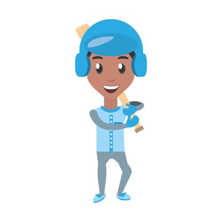 foot ball: man playing baseball cartoon icon vector illustration graphic design