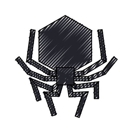 isolated hacker virus spider icon vector illustration graphic design Illustration
