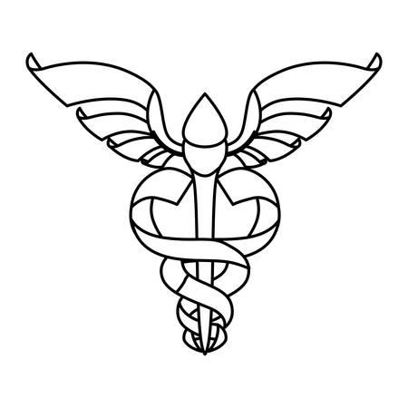 isolated caduceus emblem icon vector illustration graphic design