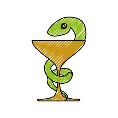 Aislado caduceo serpiente emblema icono ilustración vectorial diseño gráfico
