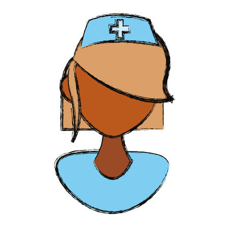 Isolated women nurse face icon vector illustration graphic design Illustration
