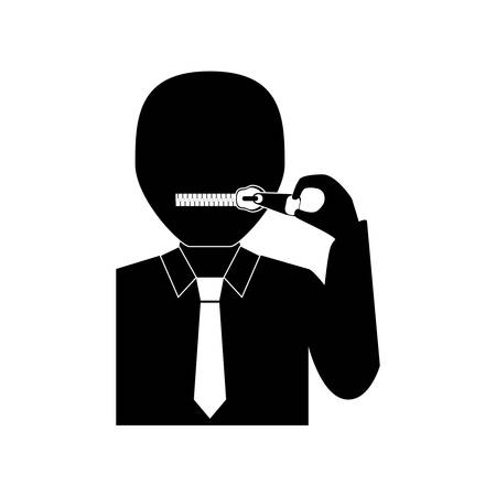 Closed zipped mouth icon vector illustration graphic design