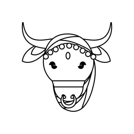 Indian sacrew cow cartoon vector illustration graphic design