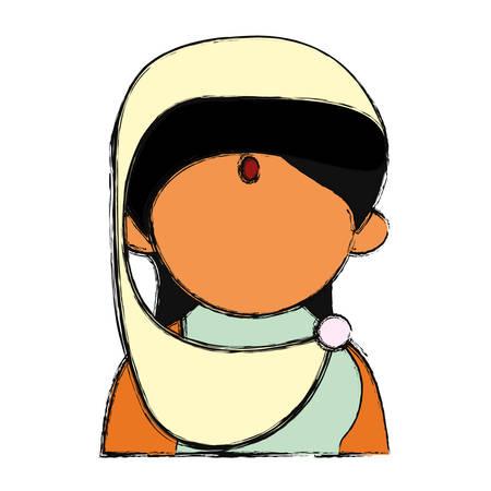 tunic: Indian woman cartoon vector illustration graphic design