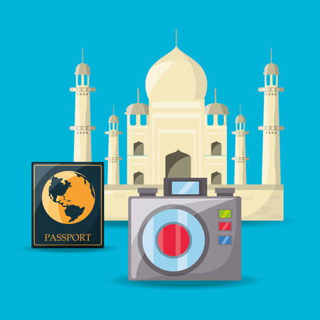 exploring: tag mahal architecture with passport and camera vector illustration Illustration