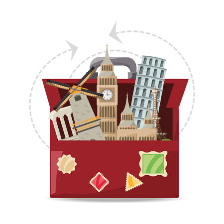 bag with architecture towel to visited vector illustration