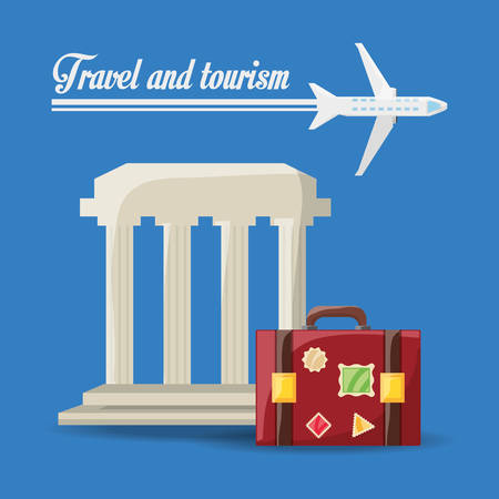 exploring: beauty architecture with bag and airplane travel vector illustration