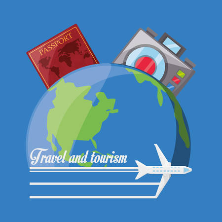 earth planet with passport and camera vector illustration Ilustração