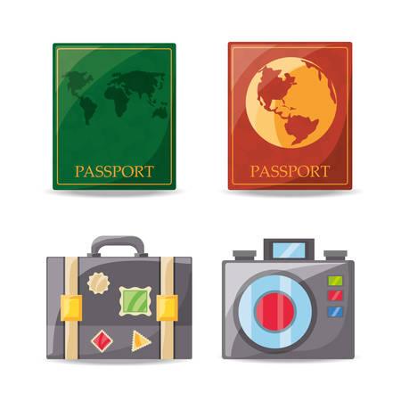 exploring: set passport and travel tools vector illustration