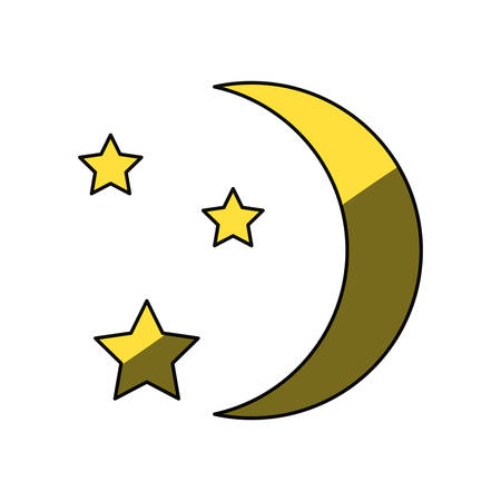 moon shadow: Moon with stars icon vector illustration graphic design