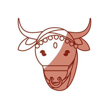 rural india: Indian sacred cow  cartoon icon vector illustration graphic design.