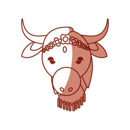 Indian sacrew cow cartoon icon vector illustration graphic design