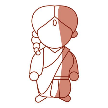 Indian woman cartoon icon vector illustration graphic design