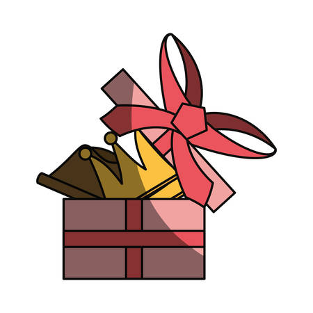 corona navidad: Gift box present icon vector illustration graphic design Vectores
