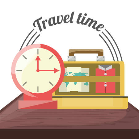 exploring: bag with important thing and alarm clock vector illustration