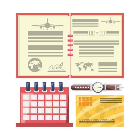 exploring: passport with calendar to travel day vector illustration
