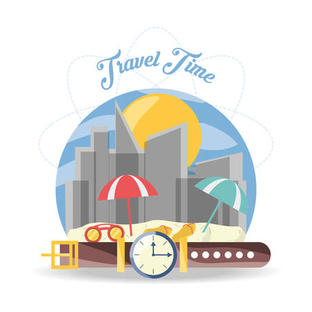 exploring: beach travel with landscape of the city buildings vector illustration