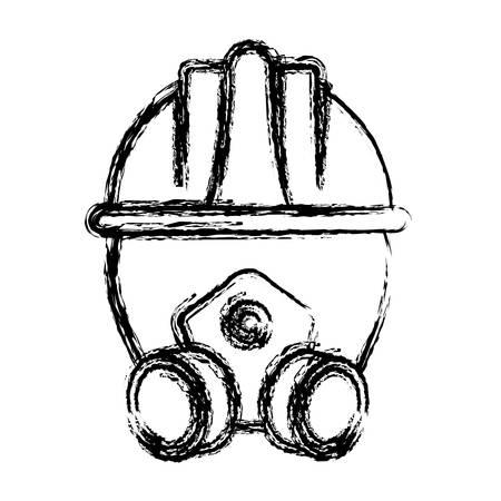 detection: respirator mask and safety helmet icon over white background vector illustration Illustration