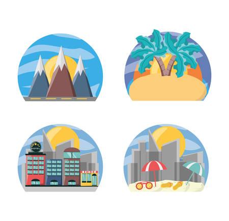 exploring: set landscape places to travel destination vector illustration Illustration