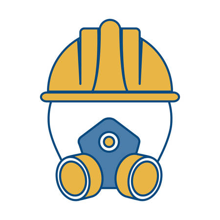 Respirator mask and safety helmet icon over white illustration. Illustration