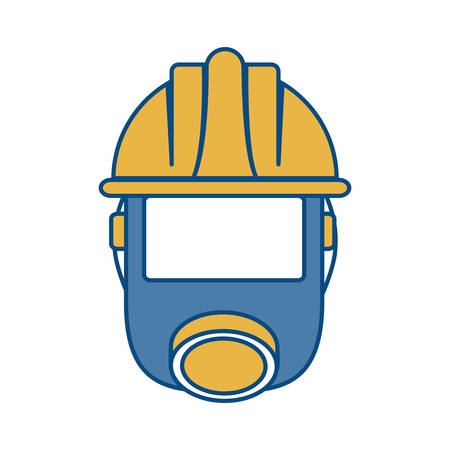safety gas mask and helmet icon over white background vector illustration