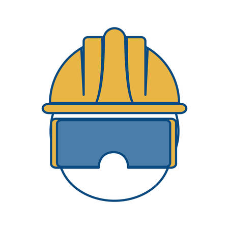 Man with safety goggles and helmet icon