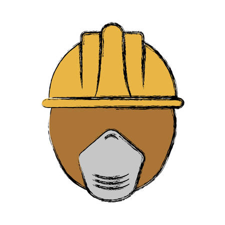 man with safety helmet and mask icon over white background colorful design vector illustration