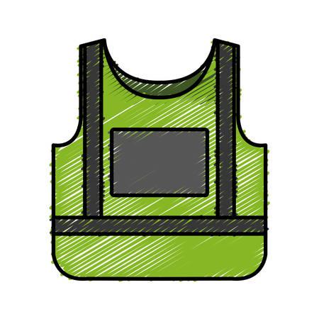 detection: safety vest icon over white background colorful design vector illustration Illustration