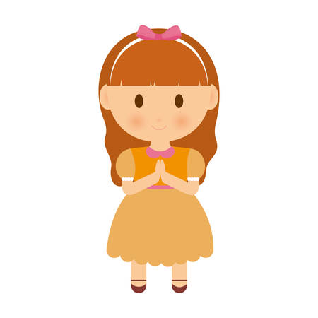 cartoon girl with hands in pray expression icon over white background colorful design vector illustration