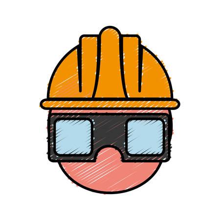 Mann mit Schutzbrille und Helm-Symbol auf weißem Hintergrund bunte Design Vektor-Illustration Vektorgrafik