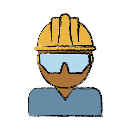 detection: man with safety goggles and helmet icon over white background colorful design vector illustration
