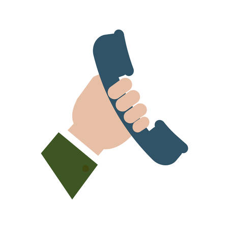 Hand holding a phone handset icon over white background vector illustration