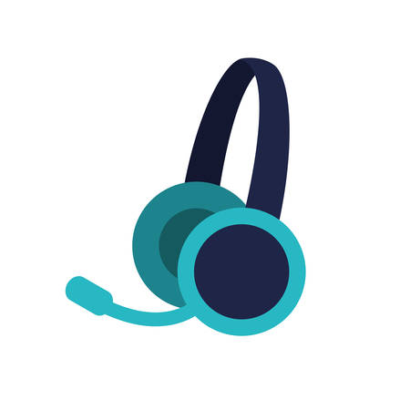 headset device icon over white background vector illustration