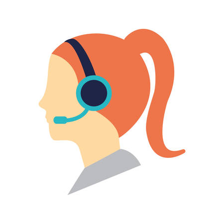 woman with headset icon over white background  customer service concept colorful design vector illustration Illustration