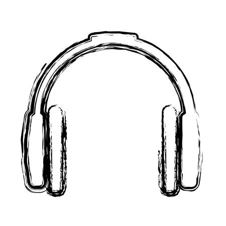 earpiece: headset device icon over white background vector illustration