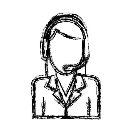 woman with headset icon over white background customer service vector illustration