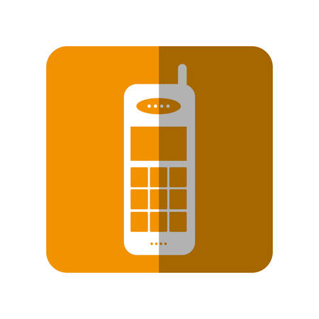 old cell phone: Retro phone icon over orange square and white background vector illustration Illustration