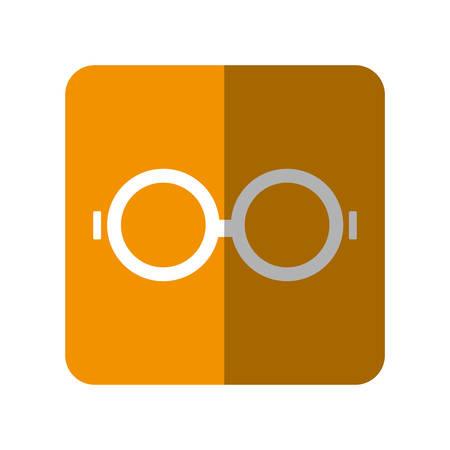 assortment: Glasses icon over orange square and white background vector illustration