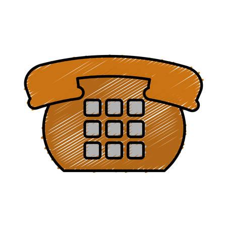 Retro phone icon over white background vector illustration