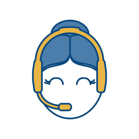 Woman with headset icon over white background colorful design vector illustration