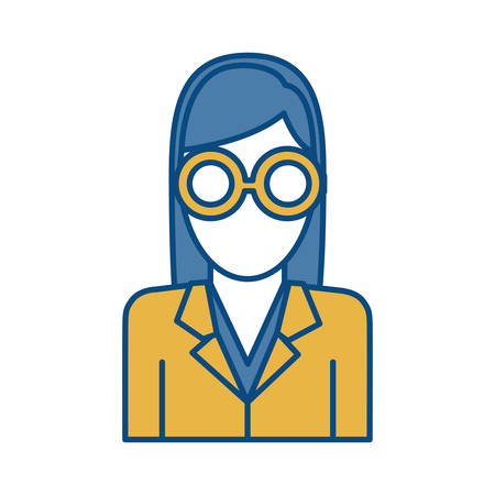 coworker: Businesswoman icon over white background colorful design vector illustration