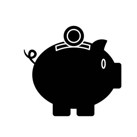 savings account: piggy bank icon over white background vector illustration