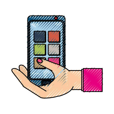 isolated hand smartphone cellphone icon vector illustration graphic design