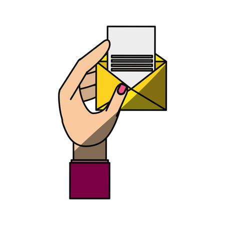 mano tomando un diseño gráfico de vector icono de enevelope