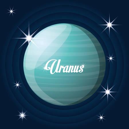astral: uranus planet in the solar system creation vector illustration