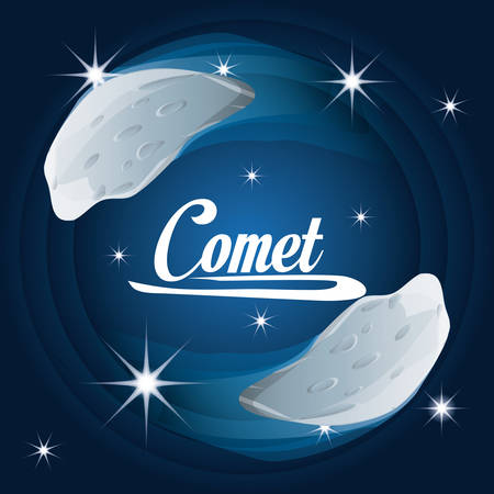 comet in the nebulae galaxy in the universe vector illustration