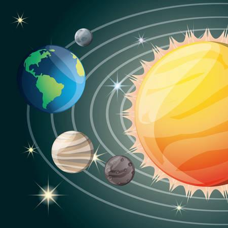 astral: solar system in the universe galaxy vector illustration Illustration