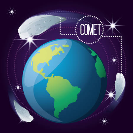 earth planet with comet around vector illustration 向量圖像