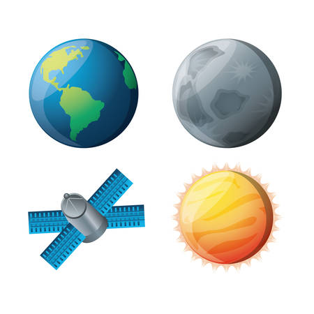 set planets with natural and technology satellites vector illustration